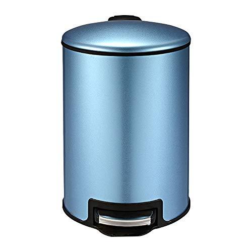 LBYMYB Haushalt Edelstahl Mülleimer Badezimmer Schlafzimmer Fuß Badezimmer Küche Wohnzimmer Abdeckung mit Deckel Mülleimer (Color : Sapphire Blue, Size : 5L)