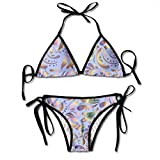 Moquette Tessile Carta da parati Viola Ornamento floreale orientale Tubi sopra Bikini Halter da donna Costumi da bagno Cravatta Fondo Triangolo Spiaggia Piscina