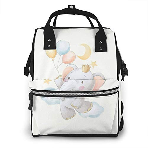 Shichangwei Mochila Escolar Diaper Bag Backpack Travel Bag Large Multifunction Waterproof Cute Cartoon Elephant Balloons Stylish and Durable Nappy Bag for Baby Care School Backpack