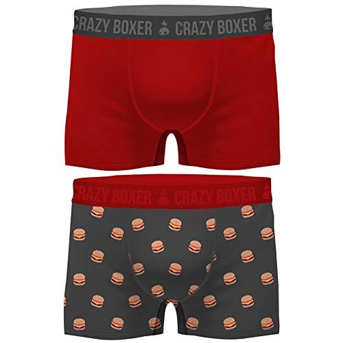 Crazy Boxer Herren T472-1-x Basic-Calzoncillos Tipo bóxer para Hombre (Certificado GOTS, 2 Unidades) Crazy Burger XL