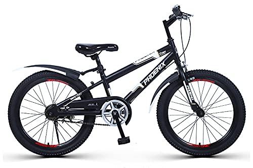 子供用自転車 PHOENIX KATE マウンテンバイク 20インチ こども用 アルミ合金ダブルリム 調節可能なシートの高さ 滑り止めハンドル 幼児 自転車 (白黒, 20インチ)
