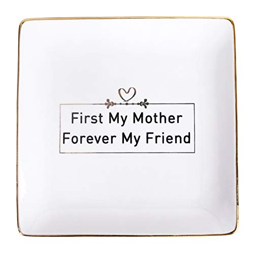 Autoark Ceramic Ring Trinket Dish - First My Mother Forever My Friend,Home Decorative Jewelry Tray,Gift for Mom,Perfect for Mother's Day Birthday Thanksgiving Christmas,AJ-310
