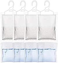 ZMFH Moisture Absorber Hanging Bags, No Scent Max Odor Eliminator, 220g Dehumidification Bags for Closets, Bathrooms, Laundry Rooms, Pantries, Storage, 4 Pack