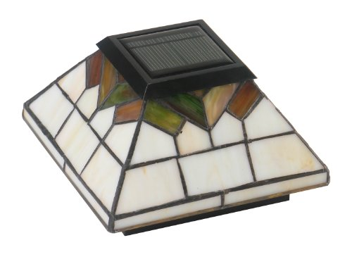 """WG322 Set of 4(four) post cap solar lights - stained glass lights - Tiffany Style outdoor solar post caps - fit over an actual 5""""X5"""" ,4""""X4"""" or 3.5""""X3.5"""""""