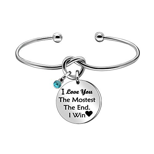BHXRODE for WifeCuff Bangle Bracelet Valentines Day Christmas Gift I Love You the Mostest The End I Win Girlfriend Jewelry (Silver)