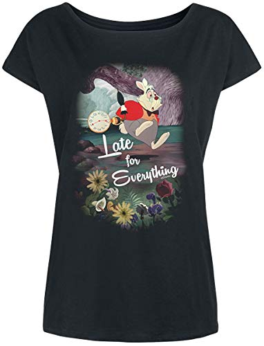 Alicia en el país de Las Maravillas Camiseta de Las Mujeres de Disney Late for Everything Suelto fit algodón Negro