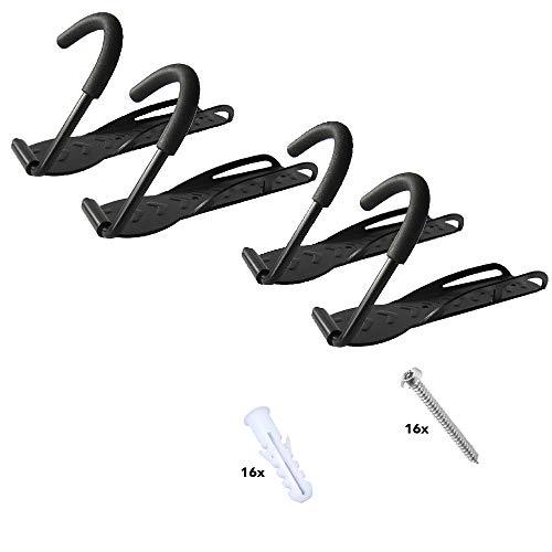 RASENFREUND® 4 Stück Fahrradhalter Wandhalterung schwarz Fahrradhalterung für 4 Fahrräder Wandhalterungen Wand Halterungen Halterung Fahrradständer inkl. Montagematerial (4er)