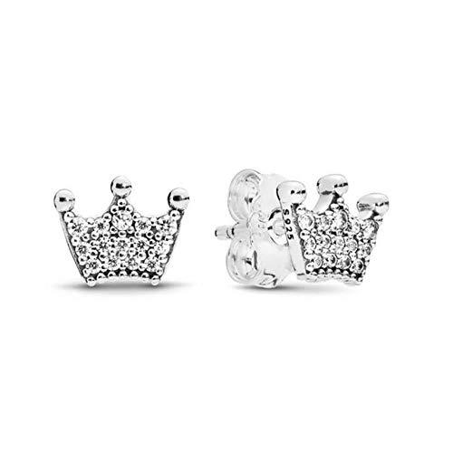 Nuevo Real 925 plata esterlina corazón corona estrella brillante redondo cuadrado Stud g para mujeres Original fino DIY oreja Jewelry-K039