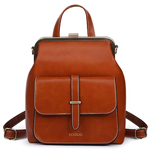 ECOSUSI Women Backpack Purse PU Leather Small Travel Casual Ladies Shoulder Bag Brown Size: One size