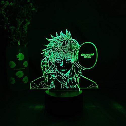 MDJK - Lámpara LED 3D con forma de anime, Jujutsu Kaisen Satoru Gojo, decoración de dormitorio, regalo de cumpleaños, figura otaku para escritorio, decoración de mesa, 7 colores