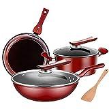 BBZZ Juego de utensilios de cocina antiadherentes Simply Cookware Juego de ollas y sartenes 3 piezas utensilios de cocina antiadherente
