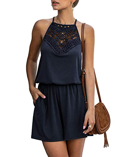 KIRUNDO Summer Women's Lace Patchwork Romper Halter Neck Short Solid Overall Sleeveless High Waist Jumpsuit with Pockets (X-Large, Navy)