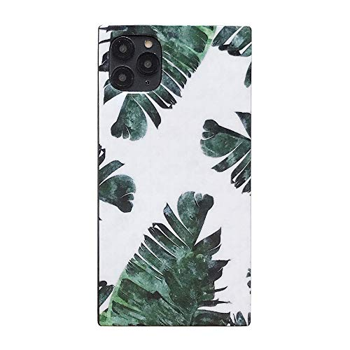 Banana Green Leaves Square Case for iPhone Xs X 10 Slim Fit Flexible Soft Rubber Summer Shockproof Back Cover (iPhone X, Green Leaves)