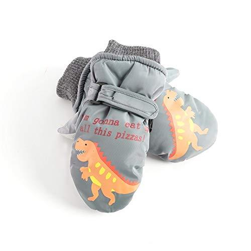 CNZXCO 2ST Winter-warme Jungen und Mädchen wasserdichte Handschuhe Kinder Skihandschuh niedlichen Cartoon-Handschuhe Baby im Freien Schnee Handschuhe (Color : Dinosaur Grey, Size : 5-10 Years Old)