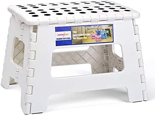 Sgabello pieghevole per bambini, in plastica, bianco, 22 x 22 x 28 cm
