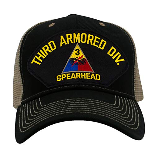 PATCHTOWN 3rd Armored Division Spearhead Hat/Ballcap Adjustable One Size Fits Most (Mesh-Back Black & Tan, Standard (No Flag))