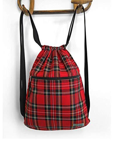 Mochila saco tela cuadro escocés (tartan), bolsa petate tela, bolso unisex