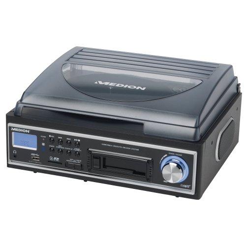 Medion MD 83447 - Tocadiscos con USB, reproductor de casetes