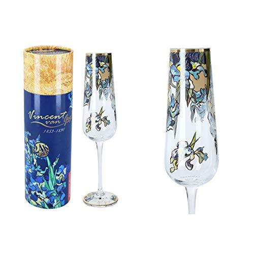 Carmani - Copas de champán decoradas con 'lirios' de Vincent van Gogh (220 ml)