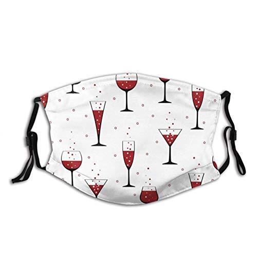 Máscara facial Copas de vino en blanco reutilizables lavables hombres mujeres paño polvo cubierta de la cara escudo pasamontañas deportes al aire libre negro con filtro 2pcs