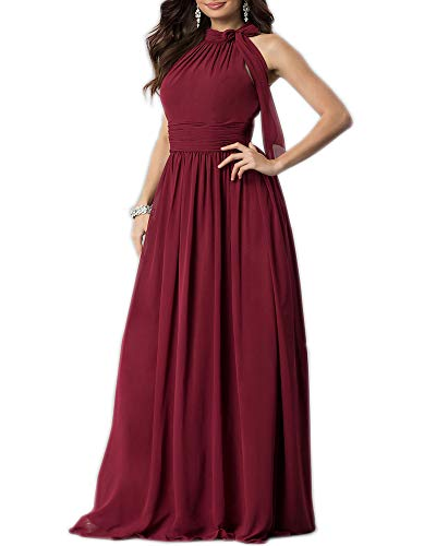 Aofur New Lace Long Chiffon Formal Evening Bridesmaid Dresses Maxi Party Ball Prom Gown Dress Plus Size (XX-Large, Wine Short Sleeve)