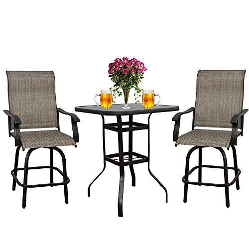 3PCS Patio 360 Swivel Stool Bar Set Outdoor Furniture Height Bistro Chairs & Table Sets, Suitable for Deck, Backyard, Balcony and Garden