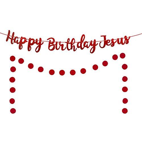 Happy Birthday Jesus Banner, Red Glittery Christmas Birthday Banner for Christian Christmas Jesus's Birthday Party Decorations, Christmas Holiday Winter Merry Christmas Party Decorations