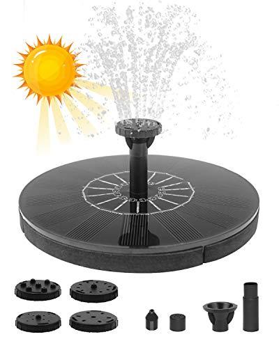 Maxesla Fuente Solar Jardin, 1.4W Bomba de Agua Solar de Jardín Solar Flotante con 4 boquillas, Bomba Solar para Estanque para Pequeño Estanque Baño de Aves Fish Tank...