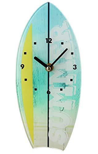 Topkey Reloj de pared de cristal silencioso en forma de barco, soporte de mesa, para decoración del hogar, dormitorio, cocina, 11 cm x 25 cm