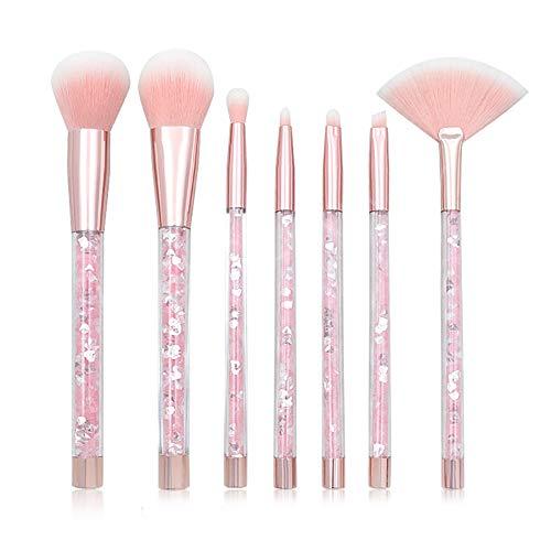 7pcs del maquillaje del brillo del kit del cepillo brillante de cristal líquido acrílico Mango de cepillo del maquillaje con la bolsa suave Organizador Incluido (+ Mango de color rosa rosa de pelo)