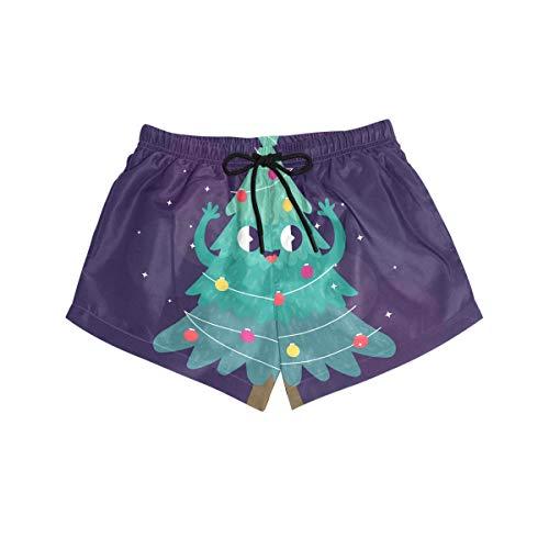 BONIPE Damen-Badehose mit süßem Cartoon-Weihnachtsbaum, Smiley-Stern, schnelltrocknend, Surf Beach Board-Shorts mit Kordelzug und Taschen S Gr. L, Mehrfarbig