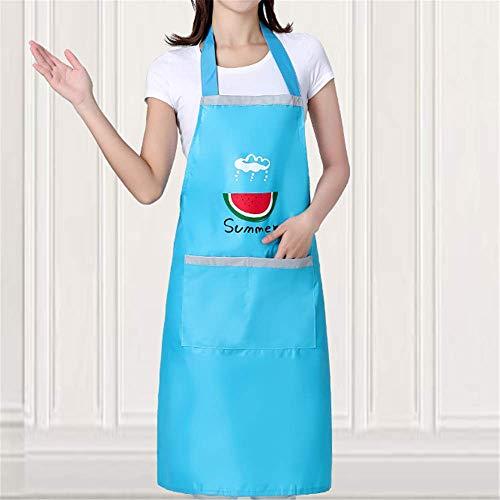 YXDZ Haushalt Küchenschürze Wasserdicht Und Ölbeständig Damenoverall Anzug Ärmel Baumwolle Und Leinen Sommermode Gestreift Hängenden Hals Dünnschliff Himmelblau