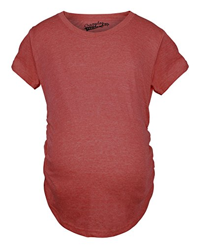 Crazy Dog Tshirts - Womens Maternity Shirt Pregnancy Tee Plain Blank Announcement New Baby Top Cheap (Red) - XXL - Femme