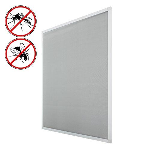 ECD Germany 2er Pack Fliegengitter mit Rahmen aus Aluminium - 130 x 150 cm - Weiß - wetterfestes Moskitonetz aus Fiberglasgewebe für Fenster - Insektenschutz Fliegenschutz Mückengitter Mückenschutz