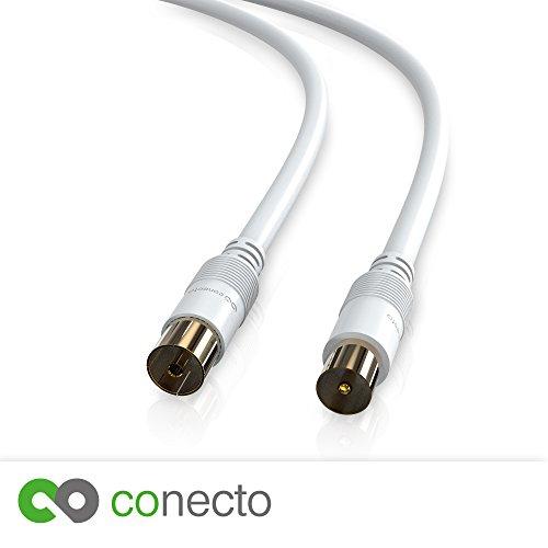 conecto HQ TV Antennenkabel Anschlusskabel - für DVB-C, DVB-T/T2-4K UHD 1080p Full HD HDTV 3D - (Koaxialkabel, TV-Stecker - TV-Buchse, doppelte Schirmung, vergoldete Stecker) weiß 3,0m