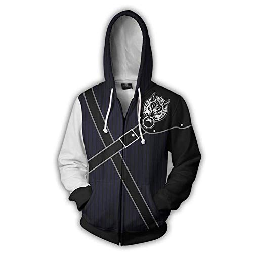 Mikucos Final Fantasy Coat Hooded Hoodie Sweater Costume Cosplay Jacket Cloud Strife L
