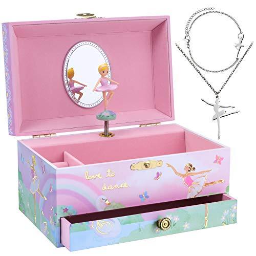 Jewelkeeper - Spieluhr & Mädchenschmuck-Set - 3 Geschenke für Mädchen