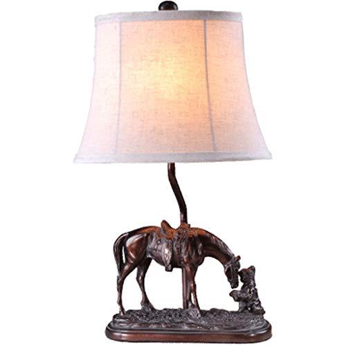 Yima Tafellamp, ouderwetse retro hars lamp kap hars lamp lichaam gravure hars basis linnen doek lampenkap leeslamp, slaapkamer studie decoratie bureaulamp