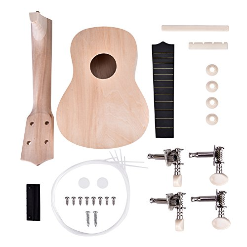Alomejor 21 Pulgadas Ukulele DIY Kit Hawaii Guitarra Trabajo Hecho a Mano Pintura Música para Niños Juguete Instrumento Musican