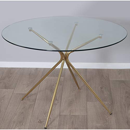 Mesas Auxiliares De Cristal Dorada mesas auxiliares de cristal  Marca DRW