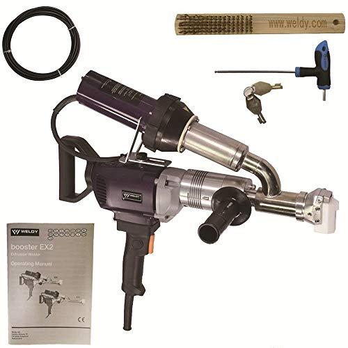 220V EX2 EX3 WELDY 3400W Handheld Plastic Extrusion Welding Machine kit Hot Air Plastic Welder Gun Vinyl Weld Extruder Welder Machine (EX2 extruder)