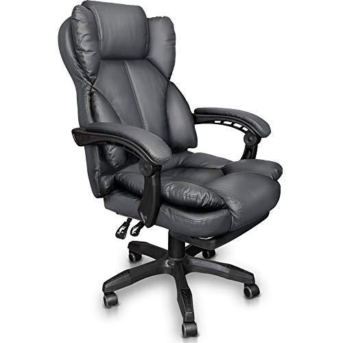 Trisens Schreibtischstuhl Bürostuhl Gamingstuhl Racing Chair Chefsessel mit Fußstütze, Farbe:Dunkelgrau