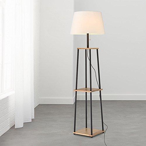 HJR Lampe de sol salon Simple chambre moderne Lampe de table verticale Nordic sofa créatif lampe de table d'atterrissage A+ (Couleur : Wood color panel+white shade)