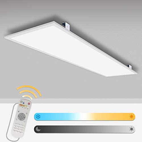 LED Panel Deckenleuchte 120x30 dimmbar 40W Deckenleuchte flach Pendelleuchten Farbtemperatur einstellbar(2700-6500K) Led Paneel mit Fernbedienung Montageseilset Anbauwinkel und LED Treiber/Trafo