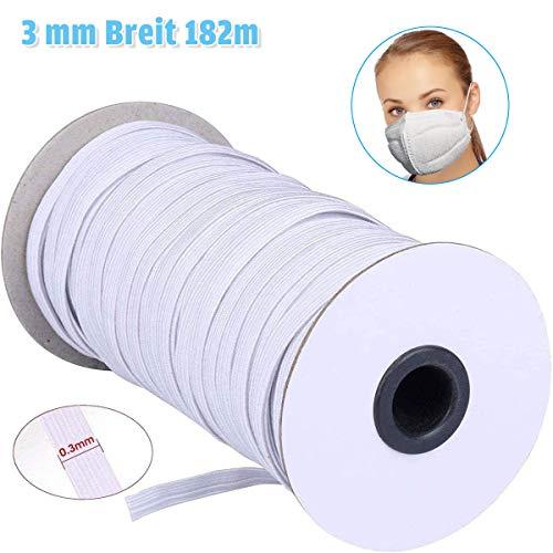 Charminer Gummiband, 3 mm Breit Flache Elastikband Elastisches Seil zum Nähen für Verschiedene Kleidungsstücke und Hutgummi 182m Lange Weiß