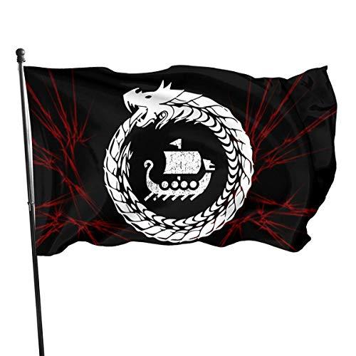 HGHGH Nordische Mythologie Wikinger 3x5 Fuß Flagge Außenflaggen 100% Polyester 3x5 Ft Gartendekoration Flagge