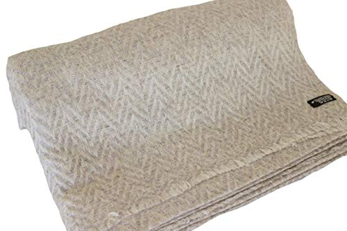 """Himalayan Cashmere Throw, Chevron Pattern, Natural Cashmere Blanket 54"""" x 108"""",Hand Made in Nepal (Grey)"""