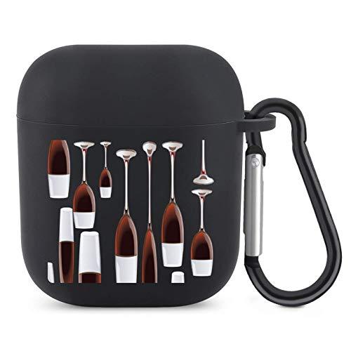 Funda de silicona para AirPods 1 y 2 a prueba de golpes de TPU para copas de vino tinto con llavero