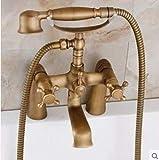 Ducha Baño Baño de cobre Ducha Grifo de agua fría y caliente Juego de ducha retro con sistema de ducha básico Juego de ducha