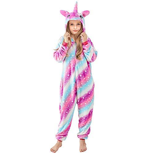 Beinou Einhorn Strampler Pyjamas Flanell Cartoon Kostüm Jumpsuit Nachtwäsche Kinder Schlafanzug Unisex Nachtwäsche Fasching Cosplay Karneval